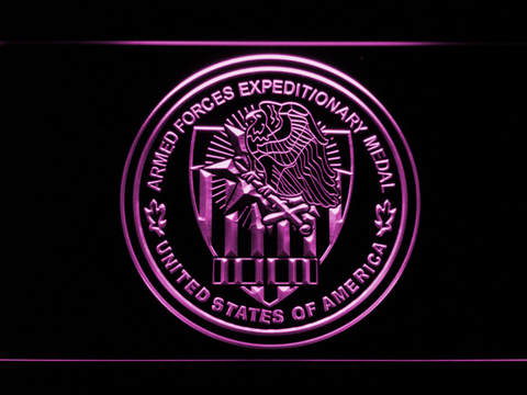 Image of US Armed Forces Expeditionary Medal LED Neon Sign - Purple - SafeSpecial