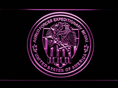 US Armed Forces Expeditionary Medal LED Neon Sign - Purple - SafeSpecial