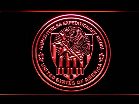 Image of US Armed Forces Expeditionary Medal LED Neon Sign - Red - SafeSpecial
