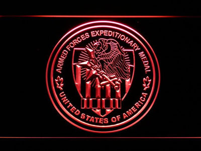 US Armed Forces Expeditionary Medal LED Neon Sign - Red - SafeSpecial