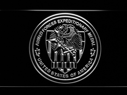 Image of US Armed Forces Expeditionary Medal LED Neon Sign - White - SafeSpecial