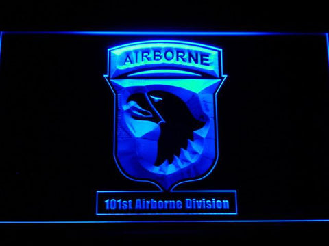 Image of US Army 101st Airborne Division LED Neon Sign - Blue - SafeSpecial