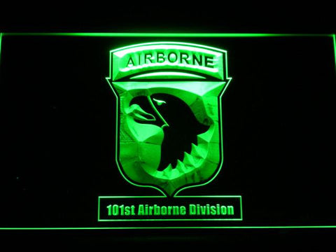 Image of US Army 101st Airborne Division LED Neon Sign - Green - SafeSpecial