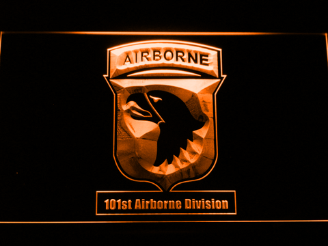 Image of US Army 101st Airborne Division LED Neon Sign - Orange - SafeSpecial