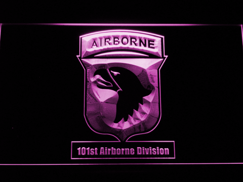 Image of US Army 101st Airborne Division LED Neon Sign - Purple - SafeSpecial