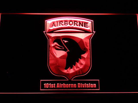 Image of US Army 101st Airborne Division LED Neon Sign - Red - SafeSpecial