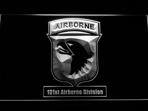 Image of US Army 101st Airborne Division LED Neon Sign - White - SafeSpecial
