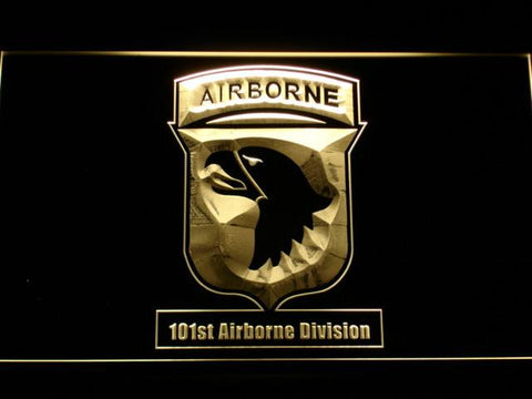 Image of US Army 101st Airborne Division LED Neon Sign - Yellow - SafeSpecial