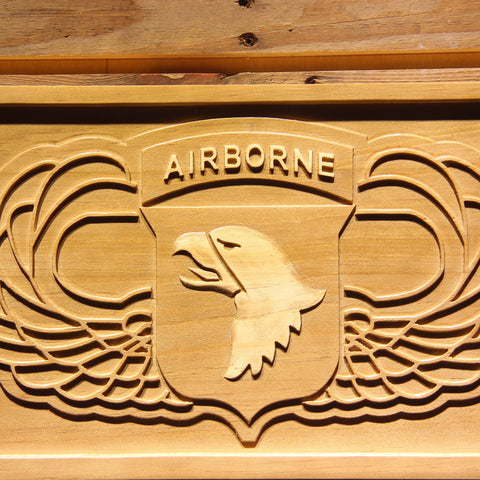 US Army 101st Airborne Division Wings Wooden Sign - - SafeSpecial