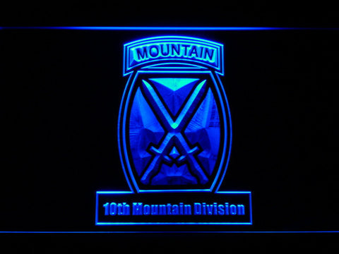 Image of US Army 10th Mountain Division LED Neon Sign - Blue - SafeSpecial
