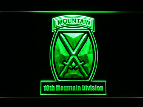 Image of US Army 10th Mountain Division LED Neon Sign - Green - SafeSpecial