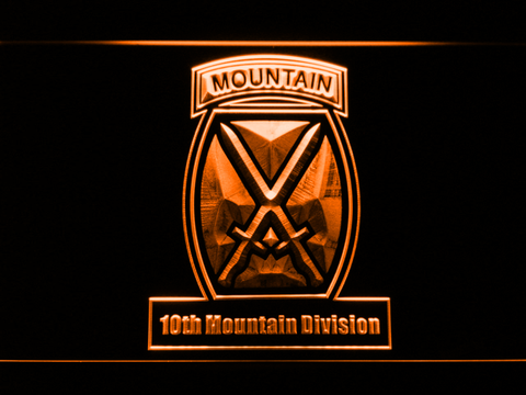 Image of US Army 10th Mountain Division LED Neon Sign - Orange - SafeSpecial