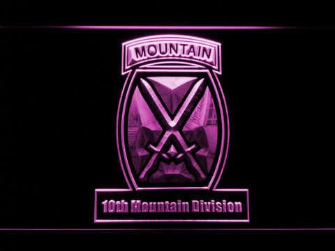 Image of US Army 10th Mountain Division LED Neon Sign - Purple - SafeSpecial