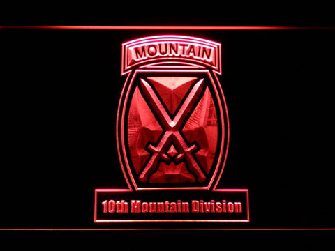 Image of US Army 10th Mountain Division LED Neon Sign - Red - SafeSpecial
