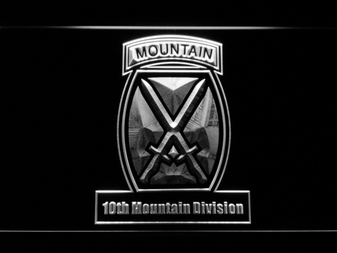 Image of US Army 10th Mountain Division LED Neon Sign - White - SafeSpecial