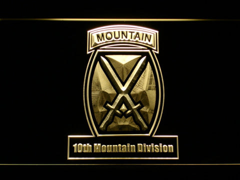 Image of US Army 10th Mountain Division LED Neon Sign - Yellow - SafeSpecial