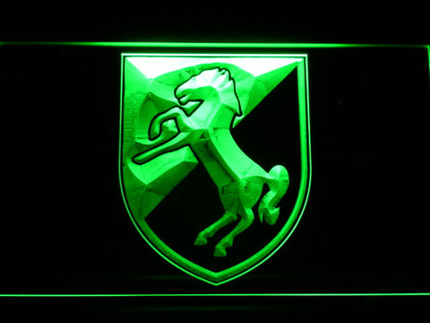 Image of US Army 11th Armored Cavalry Regiment Blackhorse LED Neon Sign - Green - SafeSpecial
