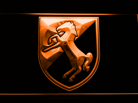 Image of US Army 11th Armored Cavalry Regiment Blackhorse LED Neon Sign - Orange - SafeSpecial