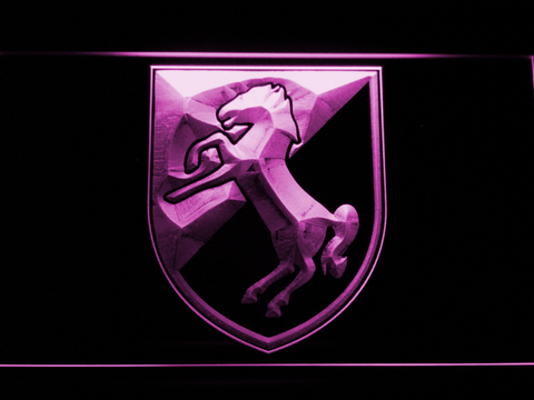 Image of US Army 11th Armored Cavalry Regiment Blackhorse LED Neon Sign - Purple - SafeSpecial