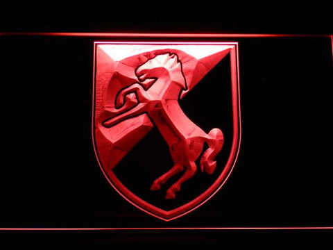 Image of US Army 11th Armored Cavalry Regiment Blackhorse LED Neon Sign - Red - SafeSpecial