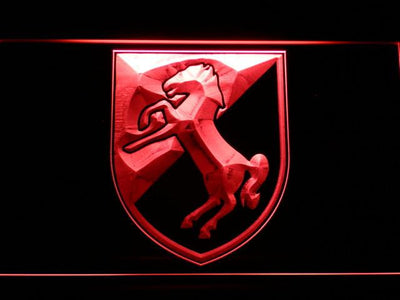 US Army 11th Armored Cavalry Regiment Blackhorse LED Neon Sign - Red - SafeSpecial