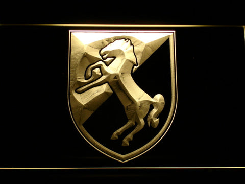 Image of US Army 11th Armored Cavalry Regiment Blackhorse LED Neon Sign - Yellow - SafeSpecial