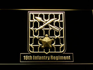 US Army 16th Infantry Regiment LED Neon Sign - Yellow - SafeSpecial