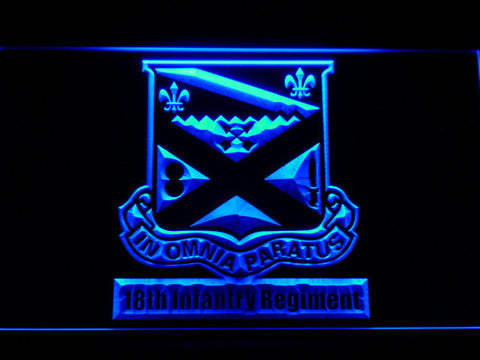 Image of US Army 18th Infantry Regiment LED Neon Sign - Blue - SafeSpecial