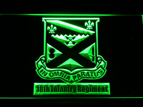 Image of US Army 18th Infantry Regiment LED Neon Sign - Green - SafeSpecial