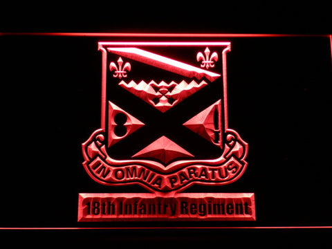 Image of US Army 18th Infantry Regiment LED Neon Sign - Red - SafeSpecial