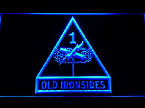 Image of US Army 1st Armored Division Old Ironsides LED Neon Sign - Blue - SafeSpecial