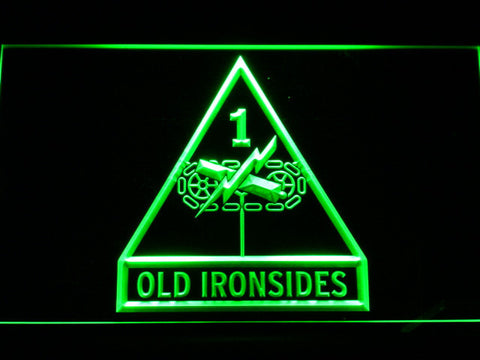 Image of US Army 1st Armored Division Old Ironsides LED Neon Sign - Green - SafeSpecial