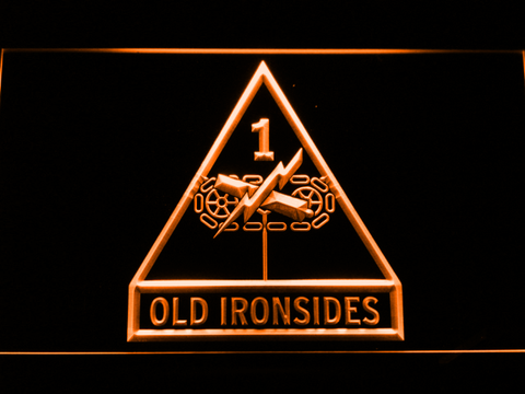 Image of US Army 1st Armored Division Old Ironsides LED Neon Sign - Orange - SafeSpecial