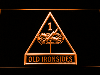 US Army 1st Armored Division Old Ironsides LED Neon Sign - Orange - SafeSpecial