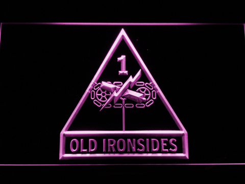 Image of US Army 1st Armored Division Old Ironsides LED Neon Sign - Purple - SafeSpecial