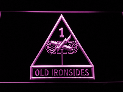 US Army 1st Armored Division Old Ironsides LED Neon Sign - Purple - SafeSpecial