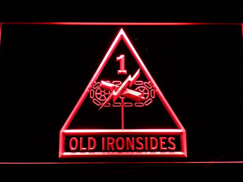 Image of US Army 1st Armored Division Old Ironsides LED Neon Sign - Red - SafeSpecial