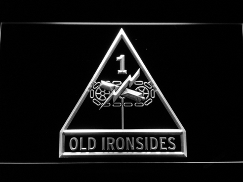 Image of US Army 1st Armored Division Old Ironsides LED Neon Sign - White - SafeSpecial