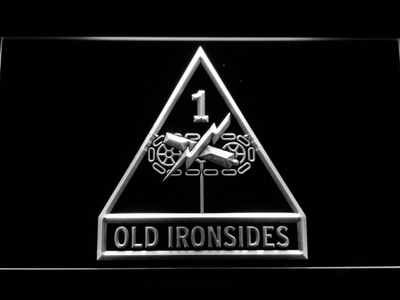 US Army 1st Armored Division Old Ironsides LED Neon Sign - White - SafeSpecial