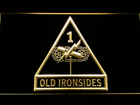 Image of US Army 1st Armored Division Old Ironsides LED Neon Sign - Yellow - SafeSpecial