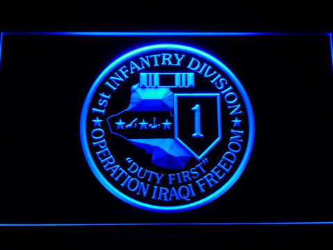 Image of US Army 1st Infantry Division Operation Iraqi Freedom LED Neon Sign - Blue - SafeSpecial