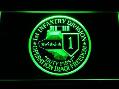 Image of US Army 1st Infantry Division Operation Iraqi Freedom LED Neon Sign - Green - SafeSpecial