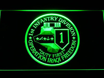 US Army 1st Infantry Division Operation Iraqi Freedom LED Neon Sign - Green - SafeSpecial
