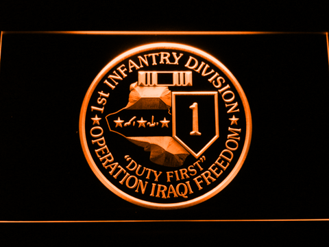 Image of US Army 1st Infantry Division Operation Iraqi Freedom LED Neon Sign - Orange - SafeSpecial