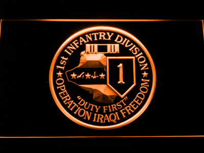 US Army 1st Infantry Division Operation Iraqi Freedom LED Neon Sign - Orange - SafeSpecial