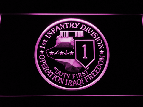 Image of US Army 1st Infantry Division Operation Iraqi Freedom LED Neon Sign - Purple - SafeSpecial