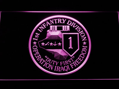 US Army 1st Infantry Division Operation Iraqi Freedom LED Neon Sign - Purple - SafeSpecial