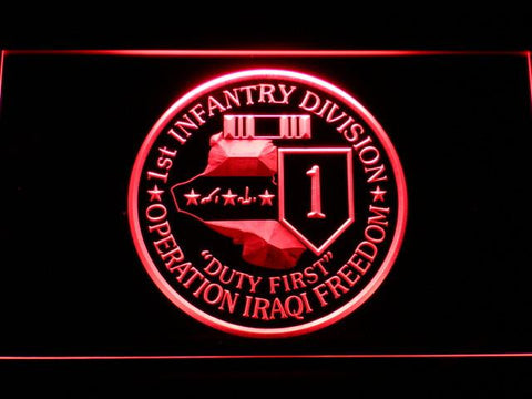 Image of US Army 1st Infantry Division Operation Iraqi Freedom LED Neon Sign - Red - SafeSpecial