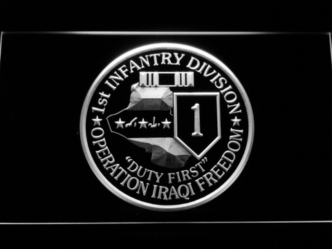Image of US Army 1st Infantry Division Operation Iraqi Freedom LED Neon Sign - White - SafeSpecial