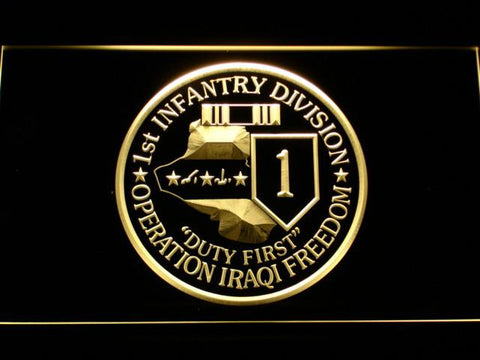 Image of US Army 1st Infantry Division Operation Iraqi Freedom LED Neon Sign - Yellow - SafeSpecial